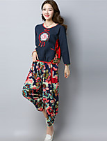 cheap -Women's Daily Casual Fall Set Pant Suits,Floral Round Neck Long Sleeve Polyester