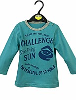 cheap -Boys' Solid Letter Tee,Cotton Spring Fall Long Sleeve Simple Blue
