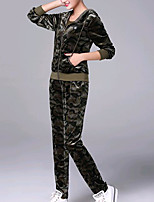 cheap -Women's Casual/Daily Simple Winter Fall Set Pant Suits,Camouflage Color Hooded Long Sleeves Cotton