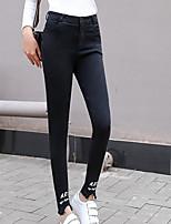 preiswerte -Damen Stilvoll Undurchsichtig Polyester Druck Bedruckt Legging,Schwarz