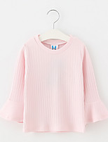 cheap -Girls' Solid Tee,Polyester All Seasons Long Sleeve Cute Blushing Pink White