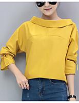 preiswerte -Damen Solide Street Schick Lässig/Alltäglich Hemd,Bateau Langarm Andere