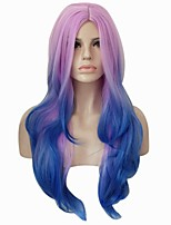 cheap -Synthetic Hair Wigs Curly Body Wave Middle Part Ombre Hair Capless Halloween Wig Party Wig Lolita Wig Cosplay Wig Purple Blue