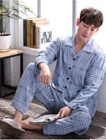 abordables -Costumes Pyjamas Homme,Fleur Moyen Polyester Bleu