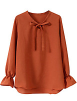 cheap -Women's Daily Casual Fall Blouse,Solid V Neck Long Sleeve Polyester