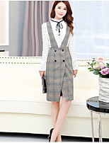 cheap -Women's Going out Casual/Daily Simple Winter Spring/Fall Set Dress Suits,Solid Houndstooth High-Neck Long Sleeves Cotton