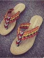 Недорогие -Жен. Обувь Лён Лето Удобная обувь Тапочки и Шлепанцы Плоские Открытый мыс для Повседневные Светло-лиловый Красный Синий Светло-Зеленый
