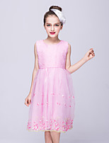 cheap -Girl's Birthday Going out Solid Embroidery Dress,Cotton Polyester All Seasons Sleeveless Street chic Princess Blushing Pink White