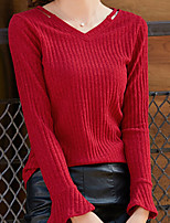 cheap -Women's Daily Casual Fall T-shirt,Solid V Neck Long Sleeve Polyester Opaque