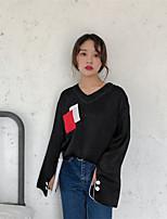 economico -T-shirt Da donna Casual Moda città Monocolore A V Poliestere Manica lunga