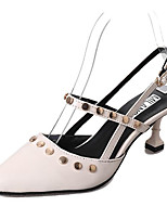 cheap -Women's Shoes PU Spring Fall Comfort Heels Stiletto Heel for Outdoor White Black Brown