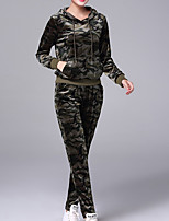 cheap -Women's Sports Active Fall Hoodie Pant Suits,Camouflage Color Hooded Long Sleeves Cotton