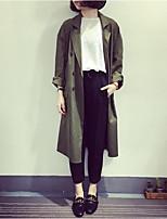 cheap -Women's Daily Casual Fall Trench Coat,Solid Shirt Collar Long Sleeve Long Cotton