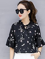 cheap -Women's Daily Going out Casual Street chic Spring Summer BlouseFloral Round Neck Short Sleeve Polyester