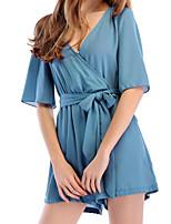 abordables -Body Vêtement de nuit Femme, Col en V Couleur Pleine - Moyen Spandex Vert Rouge Marine Gris Bleu Ciel