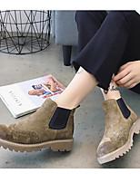 abordables -Femme Chaussures Cuir Nappa Hiver Automne Confort Bottes Talon Bas Bout fermé Bottine/Demi Botte pour Décontracté De plein air Noir