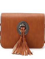 cheap -Women Bags PU Polyester Shoulder Bag Tassel for Casual All Season Brown Dark Green Gray Blushing Pink Black