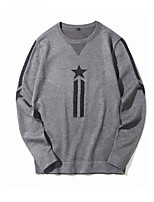 cheap -Men's Going out Casual Long Pullover,Print Round Neck Long Sleeves Polyester Spring Fall Opaque Micro-elastic