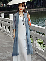 cheap -Women's Casual/Daily Simple Fall Trench Coat,Solid V Neck ¾ Sleeve Regular Silk