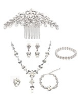 cheap -Women's Hair Combs Bridal Jewelry Sets Rhinestone Fashion European Wedding Party Imitation Pearl Imitation Diamond Alloy Flower Body