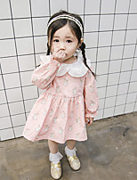 cheap -Girl's Daily Solid Galaxy Dress,Cotton Bamboo Fiber Spandex Spring Long Sleeves Vintage Gray Blushing Pink