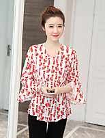 cheap -Women's Casual/Daily Street chic Blouse,Print V Neck 3/4 Length Sleeve Polyester