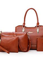 cheap -Women's Bags PU Bag Set 4 Pieces Purse Set Zipper for Shopping Casual All Seasons Brown Gray Red Black Blue