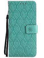 baratos -Capinha Para LG K8 LG LG K10 LG K7 K10 (2017) G6 Porta-Cartão Carteira Com Suporte Com Relevo Capa Proteção Completa Côr Sólida Flor