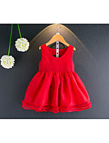 cheap -Girl's Daily Solid Dress,Cotton Polyester Summer Sleeveless Casual Red White