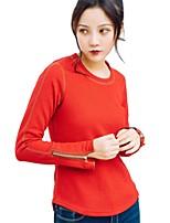 cheap -Women's Running T-Shirt Long Sleeves Breathability Sweatshirt Top for Running/Jogging Cotton Polyester Nylon Khaki Red Yellow L M S