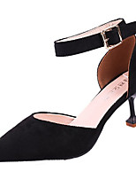 cheap -Women's Shoes PU Spring Fall Comfort Heels Stiletto Heel for Outdoor Khaki Pink Black