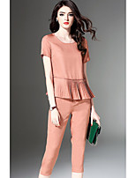 cheap -Women's Daily Casual Summer Set Pant Suits,Solid Round Neck Short Sleeve Polyester