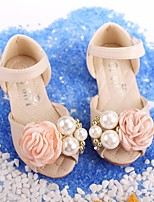 cheap -Girls' Shoes Synthetic Microfiber PU Spring Fall Comfort Flower Girl Shoes Sandals for Casual Beige Pink