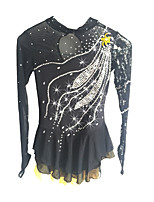 abordables -Robe de Patinage Artistique Femme Fille Patinage Robes Noir Spandex Tenue de Patinage Paillette Manches Longues Patinage Artistique