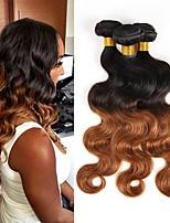economico -3 pezzi Nero / Medium Auburn Ondulato naturale Brasiliano Tessiture capelli umani Extensions per capelli 0.3kg
