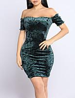 preiswerte -Damen Bodycon Kleid-Party Klub Sexy Street Schick Solide Bateau Mini Kurze Ärmel Samt Sommer Herbst Mittlere Hüfthöhe Mikro-elastisch