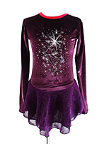 cheap -Figure Skating Dress Women's Girls' Ice Skating Dress Purple Spandex Stretchy Skating Wear Sequin Long Sleeves Figure Skating