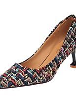 Недорогие -Для женщин Обувь Ткань Полиуретан Весна Осень Удобная обувь Обувь на каблуках Высокий каблук Заостренный носок для Повседневные Черный