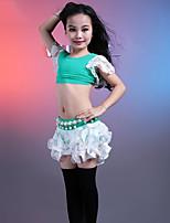 abordables -Danza del Vientre Accesorios Niños Actuación Algodón Modal Encaje Encaje Plisados Mangas cortas Cintura Baja Faldas Tops