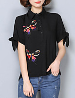 cheap -Women's Casual/Daily Cute Blouse,Solid Round Neck Short Sleeves Polyester