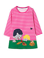 cheap -Girl's Daily Striped Patchwork Dress,Cotton Spring Fall Long Sleeves Cute Casual Cartoon Fuchsia