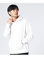 cheap -Men's Going out Casual/Daily Hoodie Solid Hooded Micro-elastic Cotton Long Sleeves Winter Fall