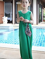 cheap -Girl's Going out Solid Dress,Cotton Summer Sleeveless Boho Green