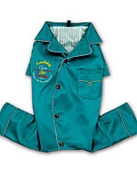 Недорогие -Собака Комбинезоны Одежда для собак Для отдыха Однотонный Буквы и цифры Красный Зеленый Синий Костюм Для домашних животных