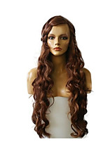 abordables -Mujer Pelucas sintéticas Largo Ondulado Medio Castaño rojizo oscuro Pelo reflectante/balayage Entradas Naturales Peluca natural Peluca de