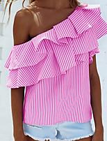 cheap -Women's Daily Casual Spring Shirt,Striped Slash Neck Sleeveless Polyester
