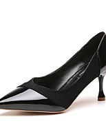 cheap -Women's Shoes PU Spring Comfort Heels Stiletto Heel Pointed Toe for Casual Pink Black White