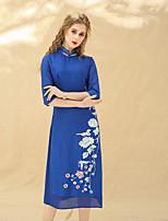 Недорогие -Для женщин Для вечеринок Праздники Винтаж Шинуазери (китайский стиль) Оболочка Платье Цветочный принт,Воротник-стойка Средней длины