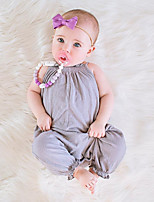 cheap -Baby Girls' Daily Solid One-Pieces,Cotton Linen Bamboo Fiber Acrylic Spring Simple Vintage Short Sleeve Sleeveless Gray Blushing Pink