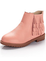 cheap -Girls' Shoes Cowhide Winter Fall Comfort Bootie Boots Booties/Ankle Boots for Casual Pink Silver Black